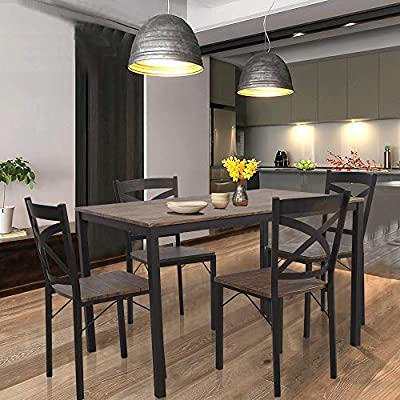"Dporticus 5-Piece Dining Set Industrial Style Wooden Kitchen Table and Chairs - 【Five-piece suit】5-piece dining set constructed with steel tube to provide strong sturdiness and durability. 【Size】Industrial dining set includes 1 x table and 4 x chairs, Table Size : 47.2""L x31.5""W x30""H; Chair size :17.3""Lx15.8''Wx33.5""H. 【Clean】This kitchen table set is easy to clean, wipe with damp cloth only. - kitchen-dining-room-furniture, kitchen-dining-room, dining-sets - 51tcmSgp4fL. SS400  -"