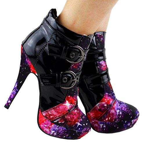 Night Punk Buckle LF30301 Heel Ankle Boots Black SHOW STORY Stiletto Sky Platform High AUqggw