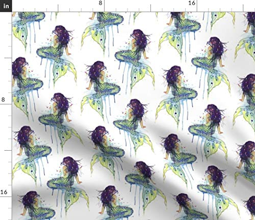 (Mermaid Fabric - Watercolor Mermaids Green Nursery Decor Kids Tail Sealife Siren Seaside Girls Print on Fabric by The Yard - Satin for Sewing Lining Apparel Fashion Blankets Decor)