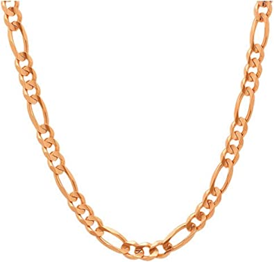 Amazon Com 10k Gold 5 5mm Figaro 3 1 Link Chain Bracelet Or Necklace Made In Italy Rose 20 Jewelry