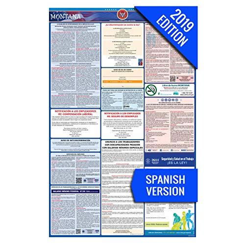 2019 Montana (Spanish) Labor Law Poster - State, Federal, OSHA Compliant - Single Laminated Poster