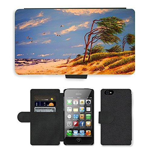 PU Leather Cover Custodia per // M00421575 Peinture acrylique By The Beach Mer // Apple iPhone 4 4S 4G