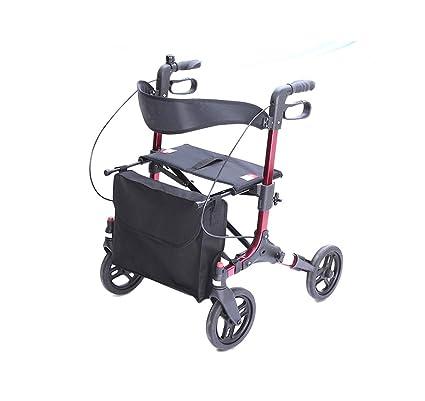 Bouting Andador 4 Ruedas Andadores con Asiento Apoyabrazos Ajustable Altura Apto para Personas Mayores/Discapacitadas