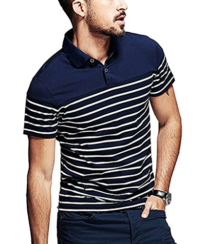 COOFANDY Mens Short Sleeve Polo Shirt Casual Slim Fit Striped T Shirts, Navy Blue(short Sleeve), Small