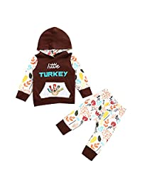 Ant-Kinds Infant Toddler Boy Girl Little Turkey Hooded Shirt & Pants Thanksgiving Outfits