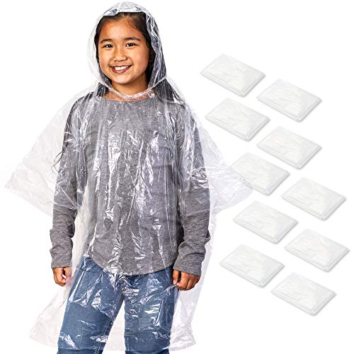 (Juvale 10 Count Disposable Kids Rain Ponchos with Hood - Emergency Poncho, Clear, 42.5 x 36.5 Inches)