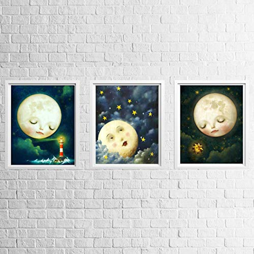 Goodnight Sweet Moon & Stars- 3 Image Set- 8 x 10's Prints Wall Art. Perfect Set for Baby Nursery Decor or Children Bedroom Decor.