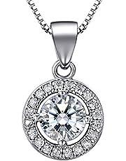 "J.SHINE Woman Pendant Necklace 925 Sterling Silver 18"" Box Chain Necklace 3A 6mm Round Cut Cubic Zirconia Pendant"