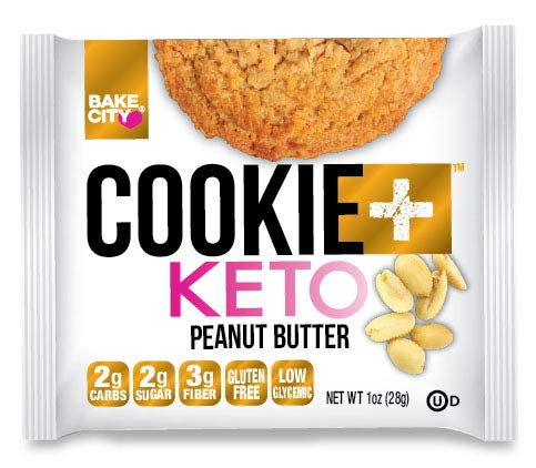 Bake City Cookie Plus Keto | Keto Cookies, 2g Net Carbs, No Palm Oil, Good Fats, 5g Protein, Kosher, No Artificial Flavors (Peanut Butter, 10 Cookies) (Peanut Butter)