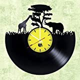 choma Africa zoo Handmade Vinyl Record Wall Clock - Living Room wall decor - Gift ideas for kids, girls and boys - Wild World Unique Art Design