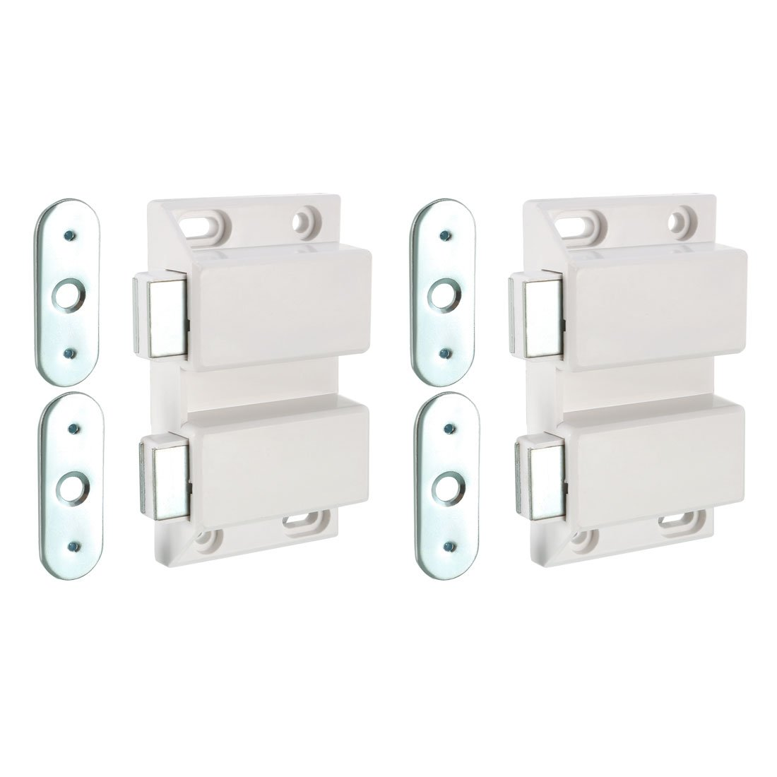 uxcell Double Magnetic Touch Press Catch Latch Plastic White for Cabinet Door Shutter 5Pcs by uxcell (Image #1)