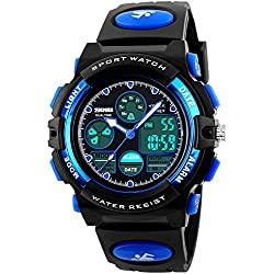 Tamlee 50m Waterproof Sports Digital Analog Led Watch for Boys Girls Kids with Rubber Strap Black Blue