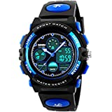 Tamlee 50m Waterproof Digital Analog Led Sport Watch for Kids with Rubber Strap Black Blue