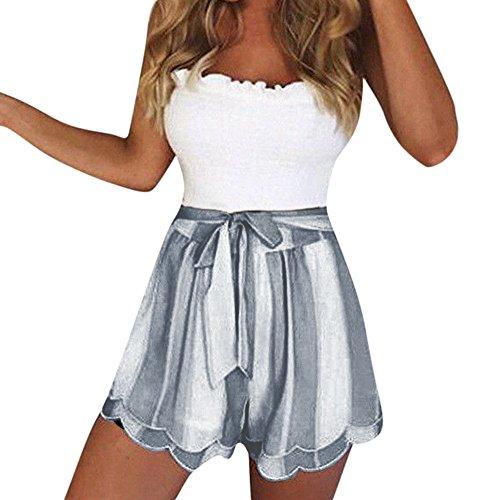 LuluZanm Summer Shorts for Women,Sale Ladies Striped Print Petal Double Layer Short Pants Drawstring Pure Hot Pants Gray