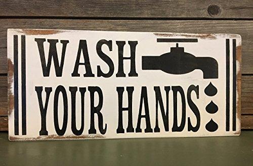 Rustic Bathroom Decor - Wash Your Hands Painted Wood Signs - Farmhouse Bathroom Decor Tiffanygwl