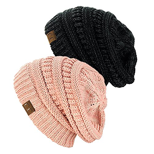 NYFASHION101 Exclusive Unisex Two Tone Warm Cable Knit Thick Slouch Beanie Cap (Black/Charcoal & 2 Tone (2 Tone Rose)