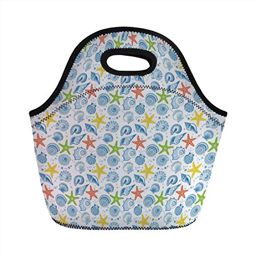 Portable Bento Lunch Bag,Nautical Decor,Marine Themed Starfish Mollusk Coral Reef Shells Oyster Underwater Design,Blue Yellow,for Kids Adult Thermal Insulated Tote Bags