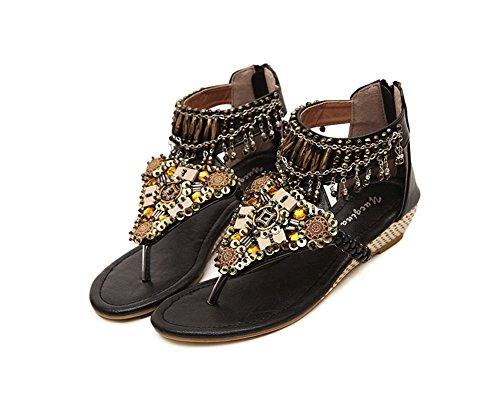 Sandalias Para Mujer Zapatos Con Cuña Abalorios Decorated De Bohemia de clip del dedo del pie Negro