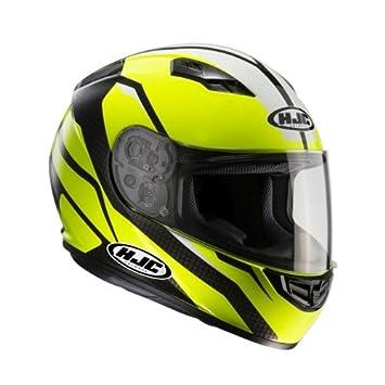 HJC 101404l Casco Moto, Negro/Amarillo Neón, L