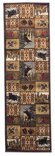 Rugs 4 Less Collection Wilderness Nature Themed Cabin Style Runner Area Rug Design R4L 760 (2ft 2in x 7ft) (Nature Rugs Area Themed)