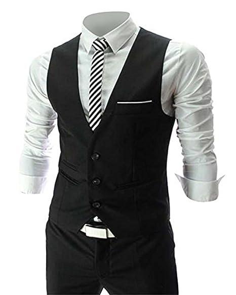 781481849da2 MAGE MALE Men s Slim Fit Suit Vests V-Neck Formal Business Sleeveless Dress  Suit Separate