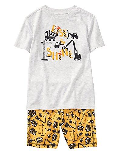 Gymboree Little Boys' 2-Piece Short Sleeve Flame Resistant Pajama Set, Heather Grey, L from Gymboree