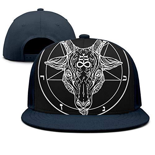 wasupyo Goat Head Binary Symbol Tattoo Snapback Hats for Men Cool Baseball Cap Black Cap]()