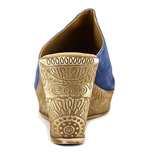 Bella Vita Dax Leather Peep Toe Sandalias De Mula Casual Blue Suede Leather