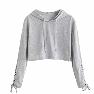 b4dfe06d09887 Covermason Sweat à Capuche Femme Blouse Sport Pull Top Hoodie Sweat-Shirt  Pullover Crop Pullover