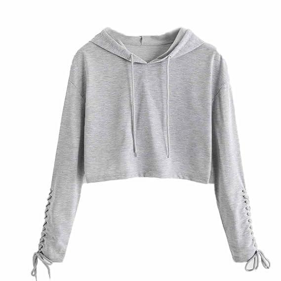 JiaMeng Mujer Sudaderas Cortas, Letras Mujer Sudaderas Jersey Crop Top Coat Deportes Sudaderas Tops(