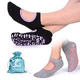 Non-Slip Pilates Socks for Women, Anti-skid Yoga Barre Bikram Ballet Studio and Hospital Socks with Grips, 2 Pack