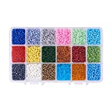 Pandahall Elite 1 Box 18 Color 8/0 Glass Seed Beads 3mm About 9000 Pieces Assorted in Storage Box
