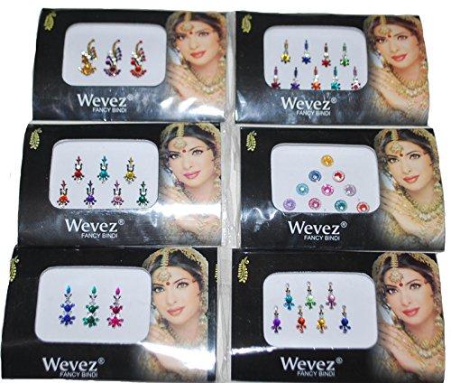 Wevez Pack of 6 Multi Color Long Rhinestone Body Glitters Reusable Bindi ()