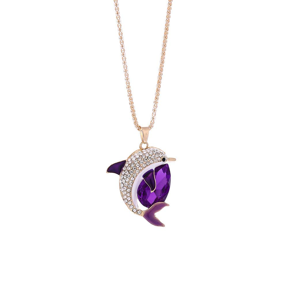 nanzhushangmao Crystal Rhinestone Dolphin Necklace,Fashion Women Long Charm Bridal Engagement Cute Bohemian Pendant Sweater Necklace (Purple)