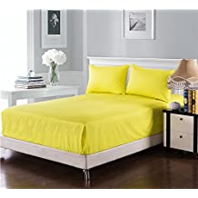 Tache 100% Cotton Deep Pocket Neon Yellow - Extra Soft Luxurious Pillowcases with Fitted Sheet Only - 3 Piece Set – King