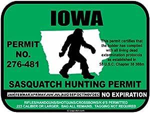 Iowa Sasquatch Hunting Permit License Bigfoot Vinyl Sticker Decal