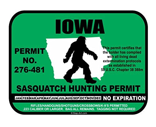 Iowa Sasquatch Hunting Permit License Bigfoot Vinyl Sticker Decal