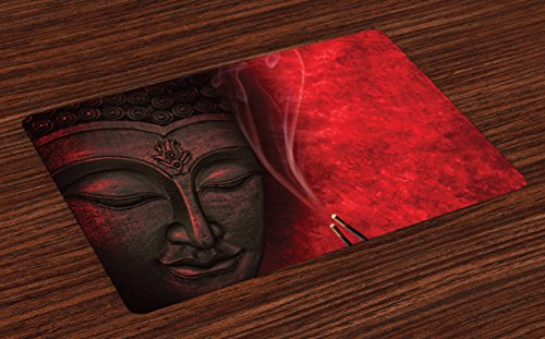Ambesonne Asian Place Mats Set of 4, Eastern Spirituality Icon Statue over Hazy Religious Zen Theme Yoga Calmness Image Print, Washable Fabric Placemats for Dining Room Kitchen Table Decor, ()