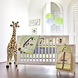 Pam Grace Creations Jayden't Jungle Monkey 10 Piece Crib Set With Bumper, Blue and Green unisex