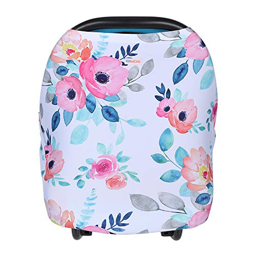 Premium, Baby-Soft Multi-Use Cover for Nursing, Breastfeeding, Stroller, Baby Car Seat, High Chair, Shopping Cart, Infinity Scarf & Much More Plus Added Bonus Bag (Seat Cover Toddler Car Floral)