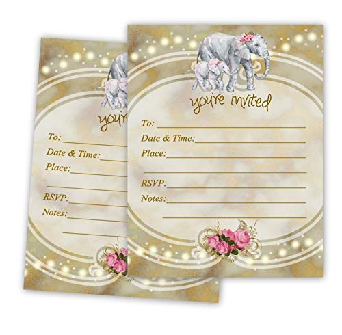Elephant Birthday Invitations Baby Bridal Shower Invites Gold Anniversary Cards 20 Count with envelopes