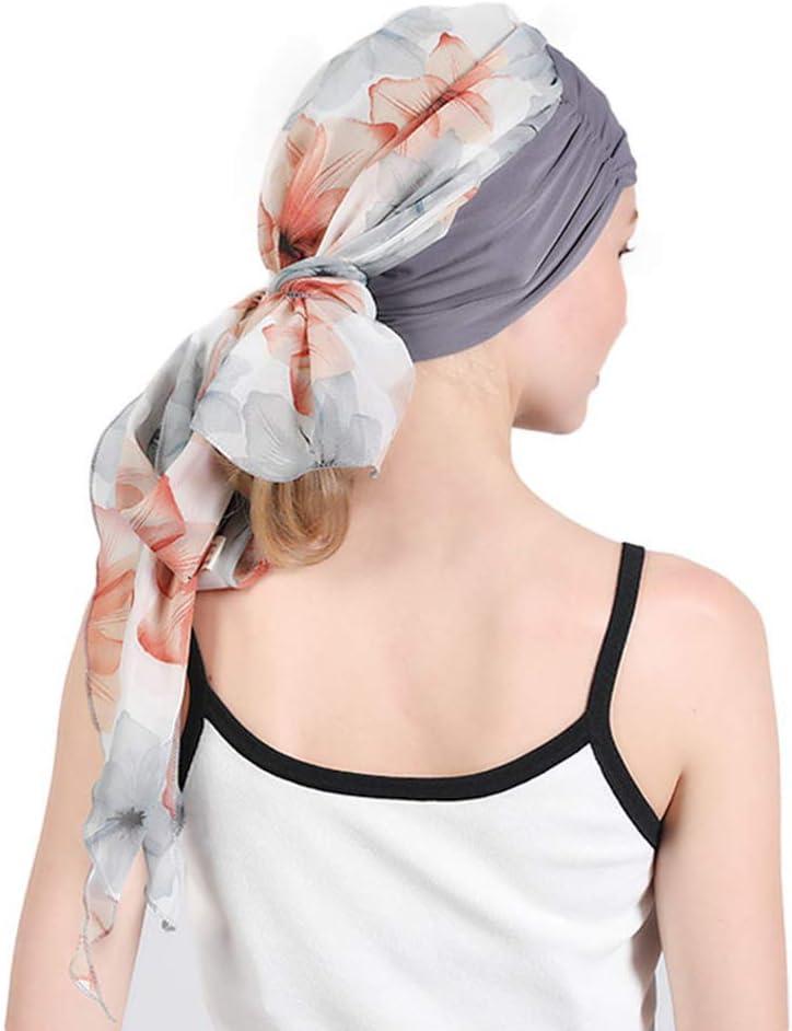 Amorar Fashion Chiffon Chemical Silenziatore Hat Turban Turban Scarf Pre-Eagglomerated Hair Loss Hat Elastico Copricapo Cancro Cappello Quadrato