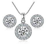 Nurbo New Hot Fashion Women's Shiny Rhinestone Pendent 925 Silver Plated Crystal Wedding Necklace Earrings Jewelry Set