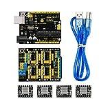 KEYESTUDIO UNO R3 CNC Kit/CNC Shield V3.0 +4pcs A4988 Stepper Motor Driver + UNO R3 ATmega328P with USB Cable GRBL Compatible