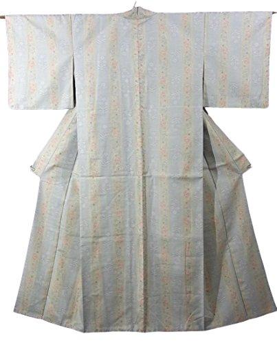 確率うがい苦リサイクル 着物 紬 縦縞に花模様 正絹 袷 裄64cm 身丈159cm