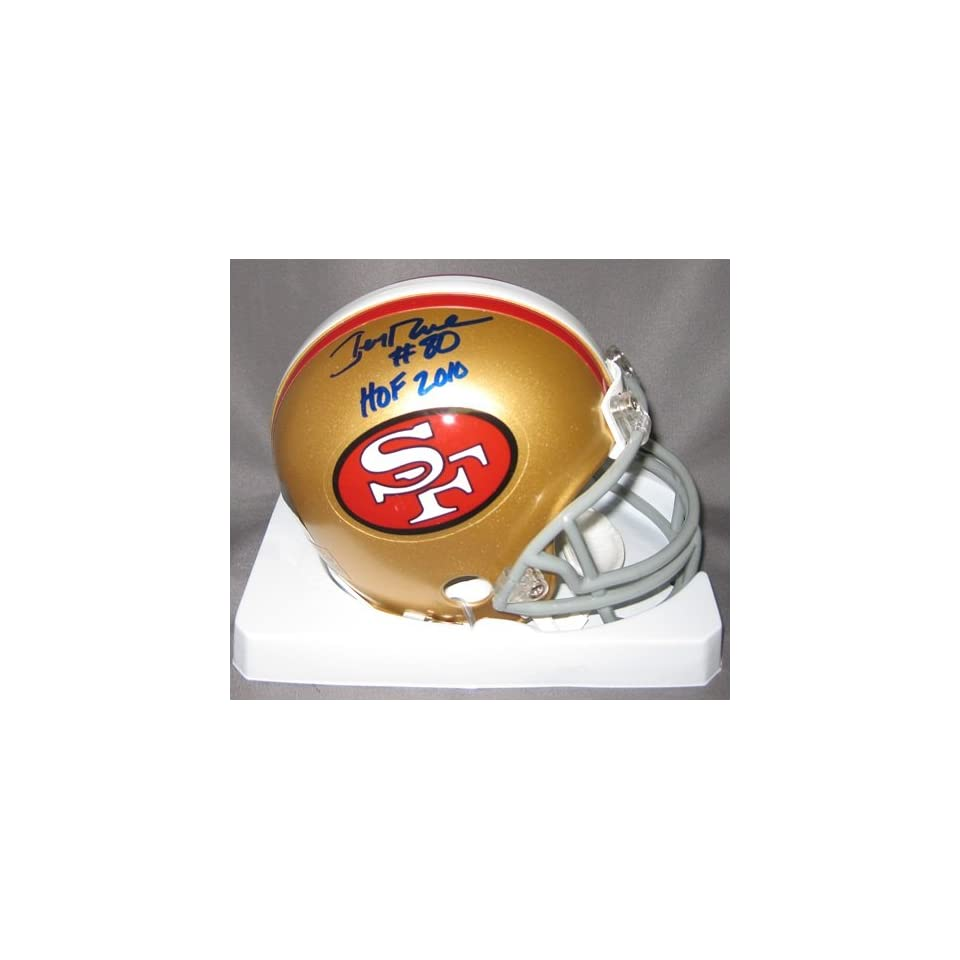 Jerry Rice Autographed 49ers Mini Helmet w/HOF 2010