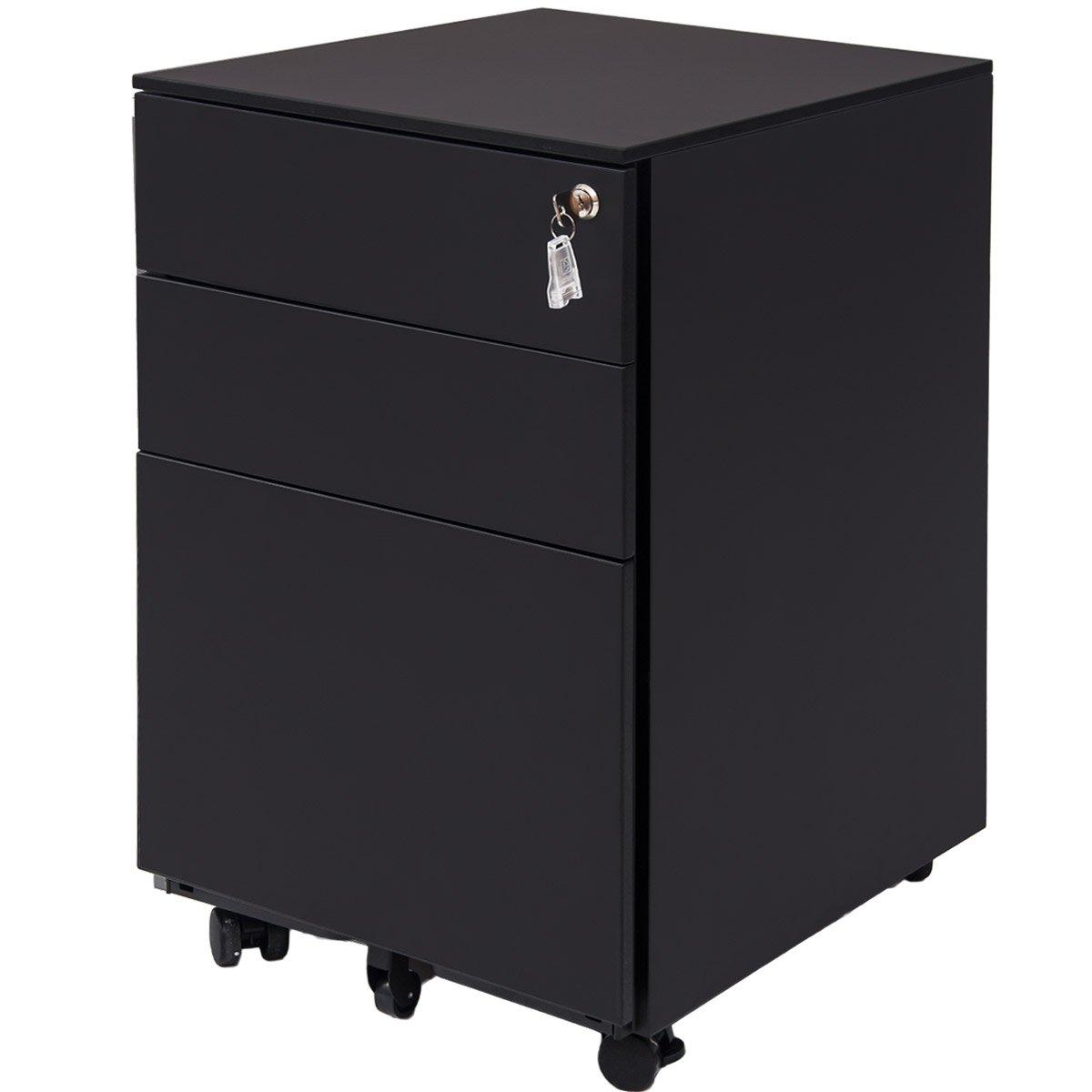 ModernLuxe Three Drawer File Cabinet Mobile Metal Lockable File Cabinet Under Desk Fully Assembled Except for 5 Castors (Black)