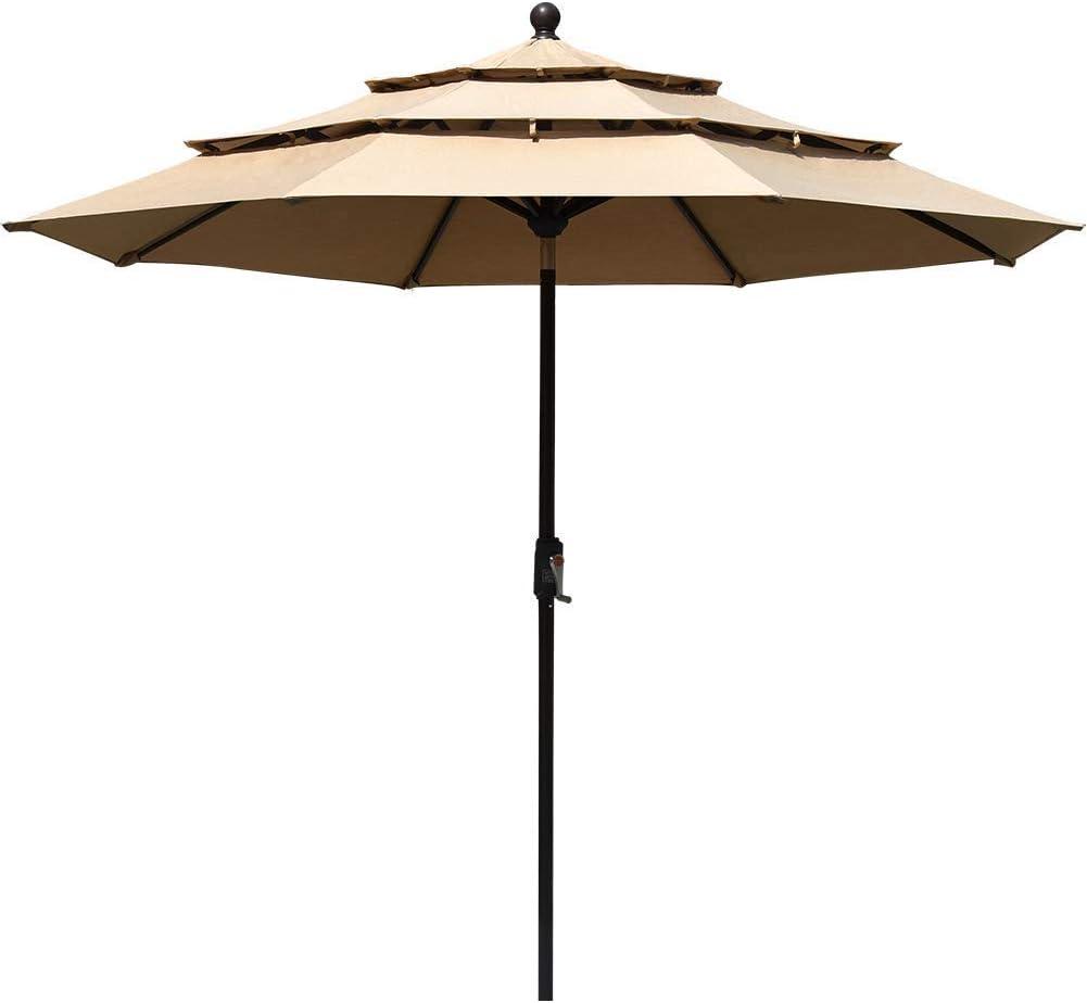 EliteShade Sunbrella 9Ft 3 Tiers Market Umbrella Patio Outdoor Table Umbrella with Ventilation (Sunbrella Heather Beige)