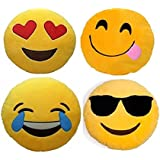 Frantic Heart Eyes, Hungry, Laughing Tears and Cool Dude Soft Smiley Cushion - 35 Cm Set of 4