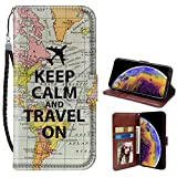 North Atlantic Map iPhone Xr Wallet Phone Case JQLOVE Apple Series PU Leather Flip Magnetic Clasp with Card Slot Stand Holder Wallet Case for iPhone Xr North Atlantic Map